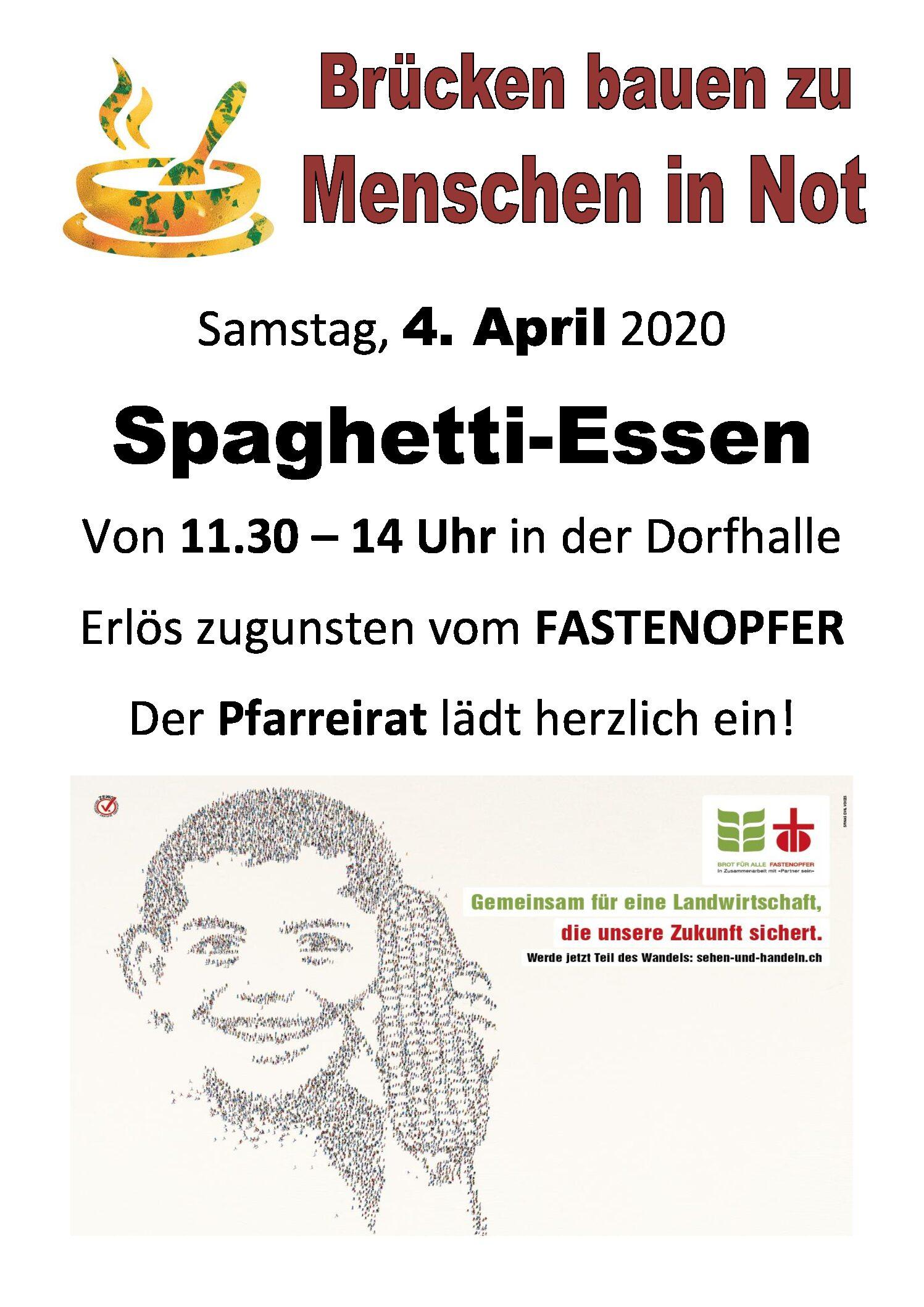 Spaghetti-Essen zu Gunsten Fastenopfer